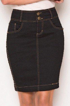 saia jeans preta tachinhas laterais laura rosa baixo
