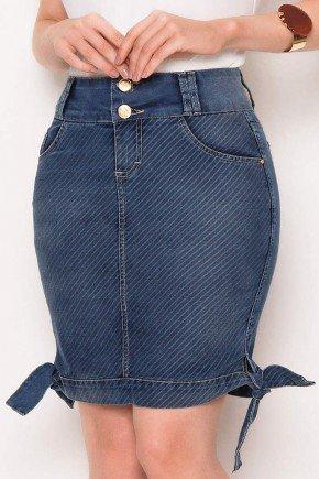 saia jeans detalhe amarracao nas laterais da barra laura rosa baixo