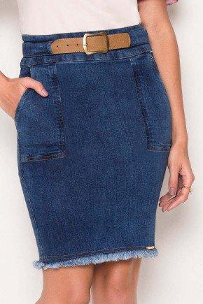 saia jeans escuro com cinto barra desfiada laura rosa baixo