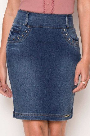 saia jeans detalhe spike dourado laura rosa baixo