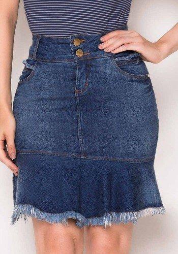 saia sino jeans detalhes desfiados laura rosa baixo