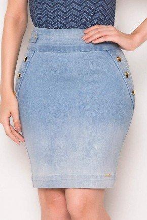 saia jeans detalhes dourados laura rosa baixo