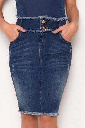 saia jeans cos e barra desfiados laura rosa baixo