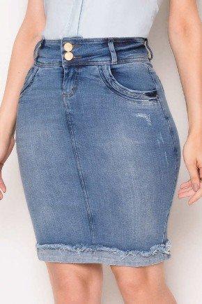 saia jeans barra virada destroyed laura rosa baixo