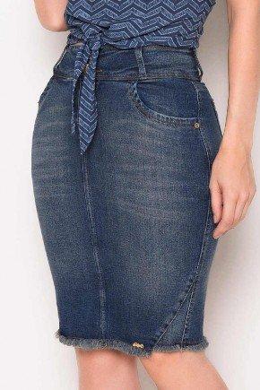 saia jeans tradicional recorte e desfiado na barra laura rosa baixo