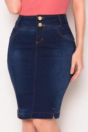 saia jeans marinho detalhe rasgos na barra laura rosa baixo