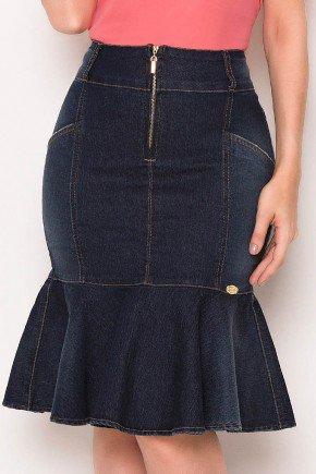 saia sino jeans marinho ziper frontal laura rosa baixo