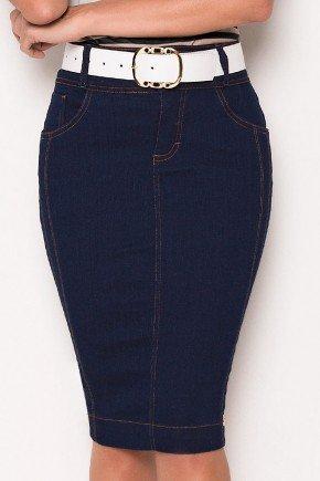 saia jeans marinho com cinto laura rosa baixo