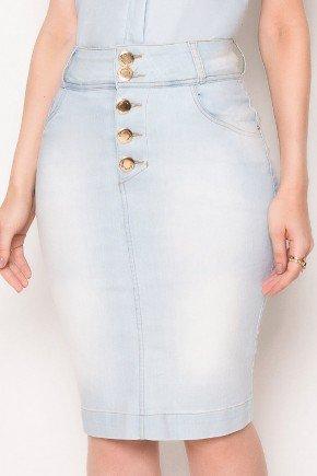 saia jeans clara botoes dourados laura rosa baixo