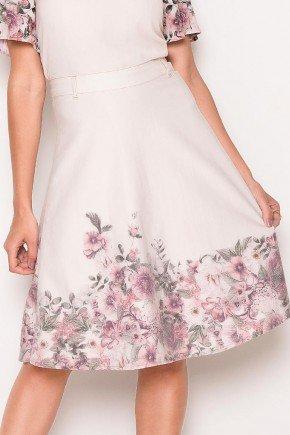 saia gode barrado floral laura rosa baixo