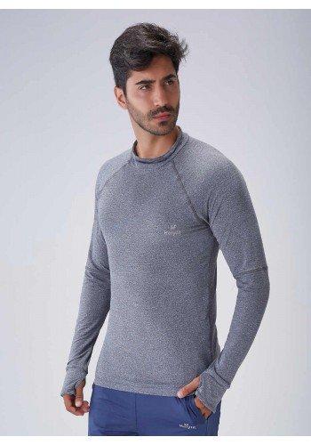 blusa manga longa masculina poliamida gola alta mescla protecao uv50 holyfit frente