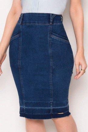 saia azul escuro jeans barra desmanchada laura rosa baixo