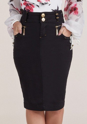 saia jeans preta ziper e aviamentos dourados titanium baixo
