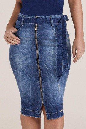 saia jeans lapis ziper frontal com cinto titanium baixo