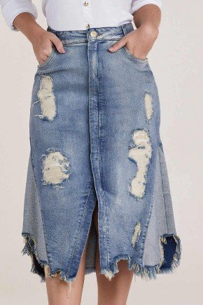 saia jeans evase detroyed recortes laterais titanium baixo