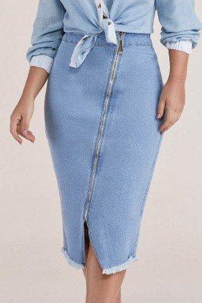 saia lapis ziper frontal diagonal titanium jeans baixo