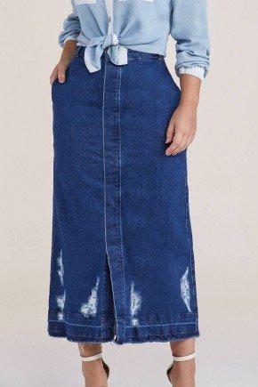 saia midi jeans barra desfeita com puidos titanium baixo