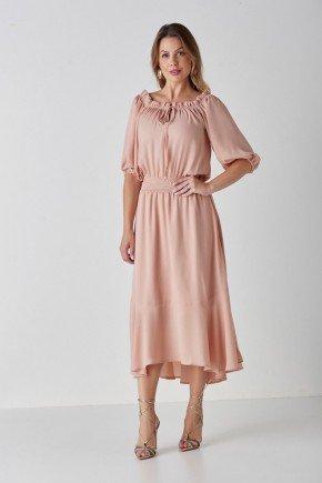 vestido nude maxi midi com lastex amora cloa cl2113nd 1
