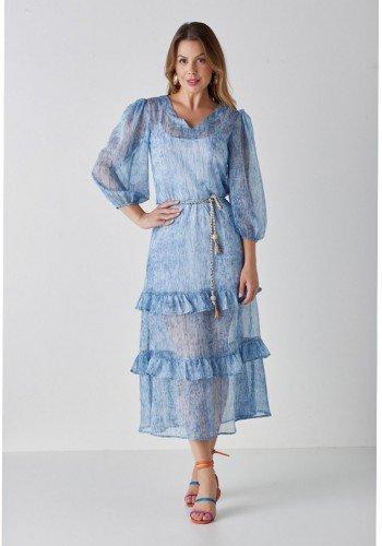 vestido azul evase com babados isabella cloa cl2238az 1