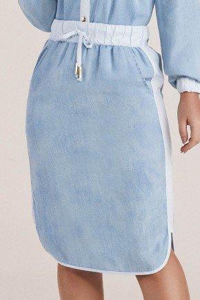 saia lapis com tecido contrastante titanium jeans baixo