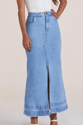 saia midi jeans barra desfeita fenda frontal titanium baixo