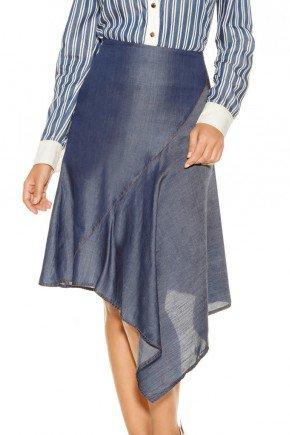 saia azul escuro barrado assimetrico titanium jeans baixo