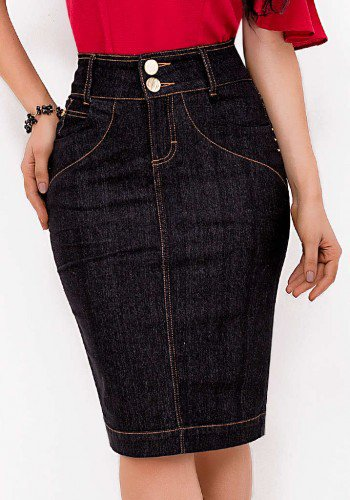 saia lapis midi jeans preta tradicional laura rosa baixo