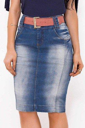 saia reta jeans com recortes laura rosa baixo