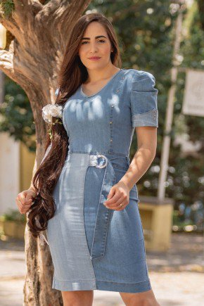 vestido jeans com recorte claro e fivela raje jeans rj18960 5