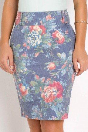 saia em sarja cintura media estampa floral laura rosa baixo