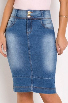 saia jeans cintura alta com barra dupla laura rosa baixo
