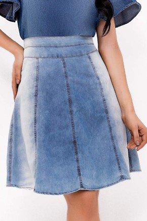 saia jeans cintura alta gode com recortes laura rosa baixo