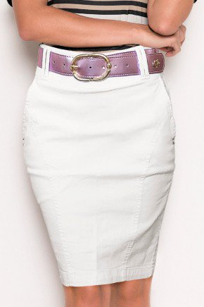 saia jeans off white flare detalhe recortes laura rosa baixo