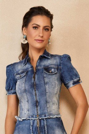 jaqueta jeans sustentavel com ziper manga bufante titanium jeans ttn25100 1