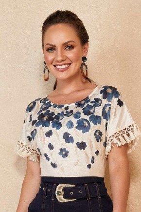 blusa bege estampa floral com franjas titanium jeans ttn25240 6