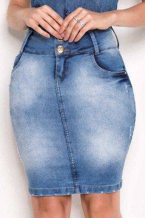 saia jeans detalhes nos bolsos de tras laura rosa baixo