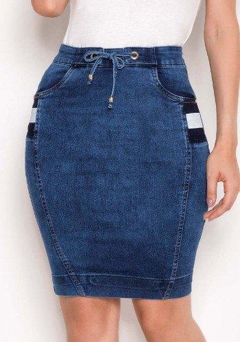 saia jeans reta detalhe galao lateral laura rosa baixo
