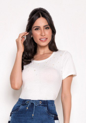 t shirt off white em malha com perolas laura rosa