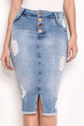 saia jeans claro destroyed com fenda laura rosa baixo