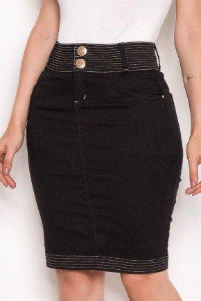 saia jeans preto detalhe costuras aparentes laura rosa baixo
