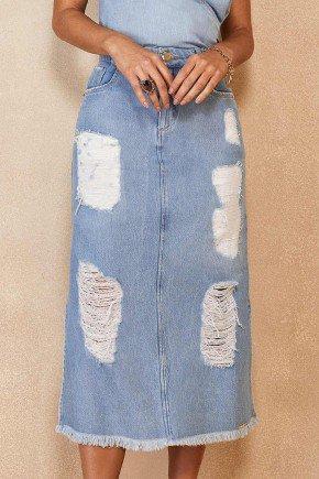 saia jeans reta midi destroyed barra desfiada titanium jeans ttn25458 2
