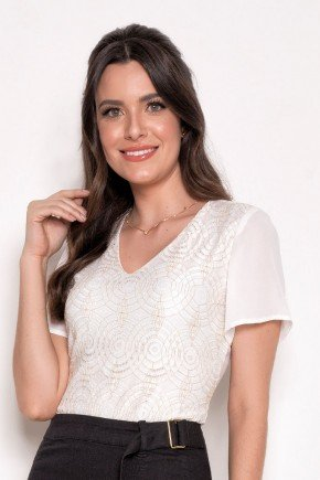 blusa off white com lesie bordada laura rosa cima