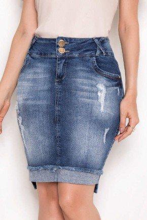 saia jeans barra dobrada desfiada laura rosa baixo
