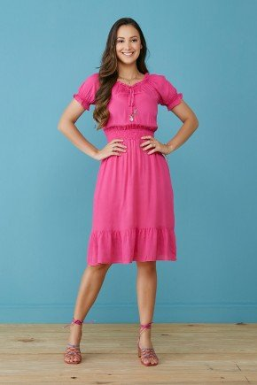 vestido evase pink com babados zelma tata martello