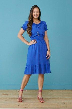 vestido evase azul royal com babados zelma tata martello