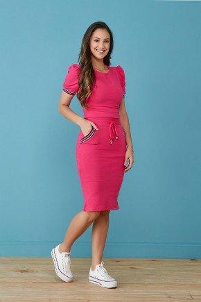 vestido pink em moletinho com galao tata martello