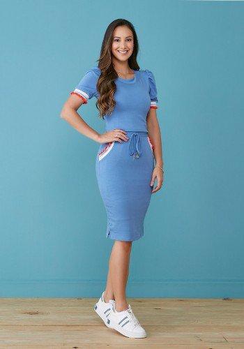 vestido azul claro em moletinho com galao tata martello