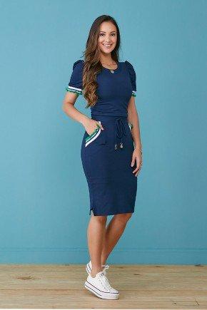 vestido azul marinho em moletinho com galao tata martello