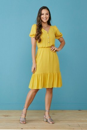 vestido amarelo debora com babados tata martello