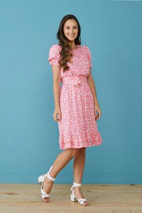 vestido rosa estampa exclusiva com babados tata martello